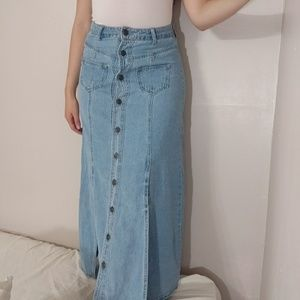 NWOT April Jeans Button Down Slit Maxi Skirt